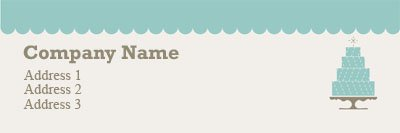 Teal Cake Bakery Address Label Template